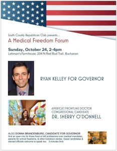 Join Ryan Kelley at the South County Republican Club's forum on Medical Freedom!